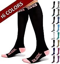 SB SOX Compression Socks (20-30mmHg) for Men & Women - Best Stockings for Running, Medical, Athletic, Edema, Diabetic, Varicose Veins, Travel, Pregnancy, Shin Splints (Black/Pink, Medium)