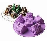 JasCherry Stampo in Silicone, Stampi per Caramelle e Cioccolato, Stampi per Cottura a Motivi 3D a Forma di Casa a 6 Cavità, per Muffin Gelatina Cioccolato (26,5 x 26,5 x 6 cm)