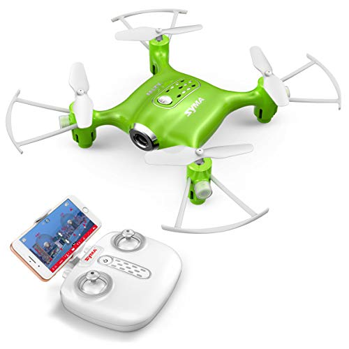 Syma X21W Mini RC Drone with Camera Live Video, 2.4GHz 6-Axis Gyro FPV WiFi App Controlled LED Quadcopter Drone for Kids & Beginners with 3D Flips, Headless Mode, Altitude Hold.Green
