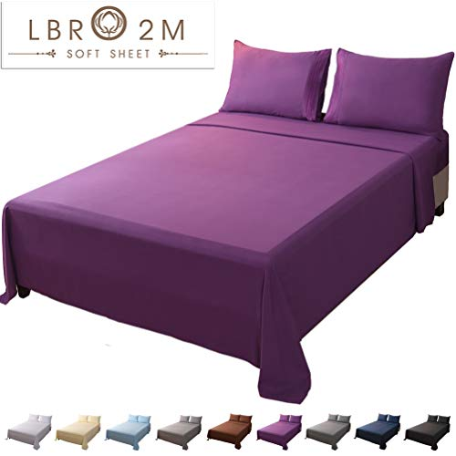 LBRO2M Bed Sheet Set King Size 16 Inches Deep Pocket 1800 Thread Count 100% Microfiber Sheet,Bedding Super Soft Comforterble Hypoallergenic Breathable,Resistant Fade Wrinkle Cool Warm,4 Piece (Purple)