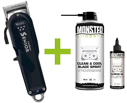 Wahl Senior Cordless Tondeuse + Monster Clippers Clean & Cool Blade Spray & Olie