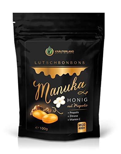 Kräuterland - Manuka Honig Lutschbonbons MGO 400+ 100g - mit 30% Propolis und Vitamin C - Manuka Bonbons für Mund und Hals - Made in Germany