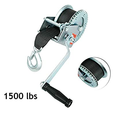 Fekuar 1500lbs Hand Winch with Hook & 20' Strap Hand Crank Use on Manual Trailer Boat Pull Tow