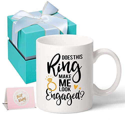 Engagement Gifts-Novelty Coffee Mugs, Does This Ring Make Me Look Engaged, Engagement Gifts for...