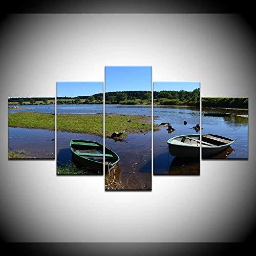 HAOQIPA Cuadro En Lienzo 5 Piezas Set CuadrosDos Barcos De PescaCuadro sobre Lienzo Cara De No Tejido Impresión En Lienzo Decoracion Pared Regalo Creativo(150x80CM)