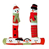 Kitchen Appliance Handle Covers, Holiday Snowman Theme, Refrigerator, Freezer, Oven - Set of 3.