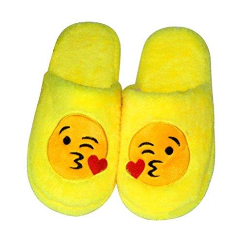 Tinksky Paar Emoticon Hausschuhe Unisex Lustige Plüsch Pantoffeln für Zuhause oder Fasching-Karneval Größe 42-43