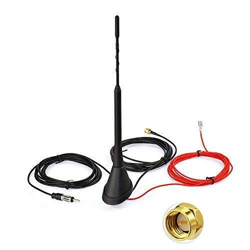 Bingfu DAB+ Antenne DAB Digital Radio FM/AM Kombi Antenne mit SMA Stecker Splitter Fahrzeug Dachmontage Signal Amplifier 500cm 16.4ft Kabel 23cm Stab Kompatibel mit Blaupunkt MEHRWEG