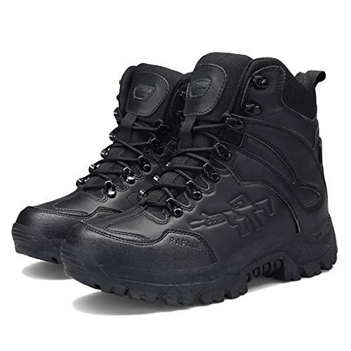Wygwlg Zapatos de Seguridad del ejército de los Hombres Botas Militares de Combate del Desierto Botas Impermeables de Senderismo de Baja Altura Botas de protección de acción,Black-39