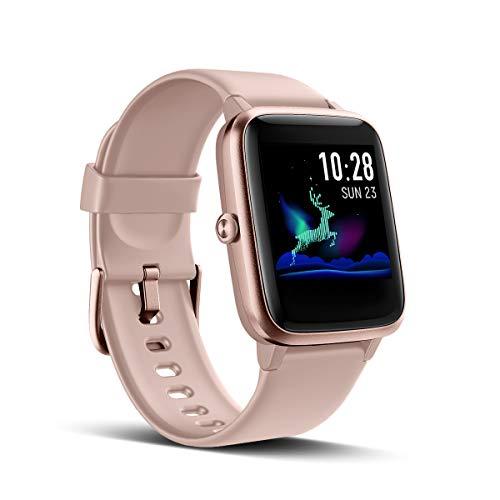 LATEC Pulsera Actividad Reloj Inteligente Impermeable IP68 Smartwatch Pantalla Táctil Completa con Pulsómetro Cronómetro Pulsera Deporte para Hombres Mujeres Niños con iOS y Android (Rosa)