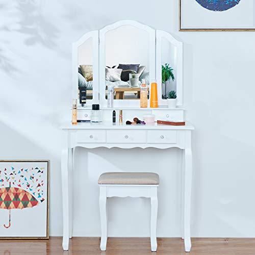 EPHEX Schminktisch mit 3 Spiegeln und 5 Schubladen und einem Hocker, Schminktisch Dekos, Luxuriös Schminktisch mit Kippsicherung, Vanity Table 140 x 80 x 40 cm (Weiß)