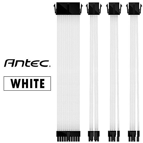 Antec Power Supply Sleeved Cable /24pin ATX /4+4pin EPS /6+2pin PCI-E PSU Extension Cable Kit 30cm Length with Combs, White(11.8inch/30cm)
