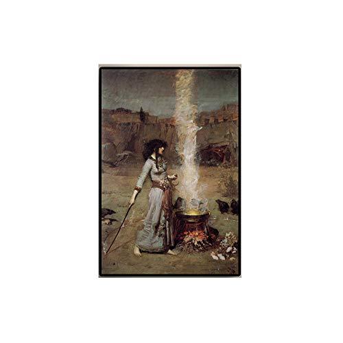 De La Lona Pintura John William Waterhouse Poster Impresiones CláSico Figura Mujer Pared Cuadro para Salon Corredor Decoracion 40x60cm No Mujer