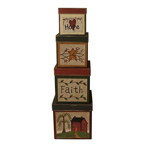 CVHOMEDECO. Lot de 4 boîtes gigognes carrées en carton de collection vintage espoir, foi, étoiles, 20,3 x 20,3 x 20,3 cm