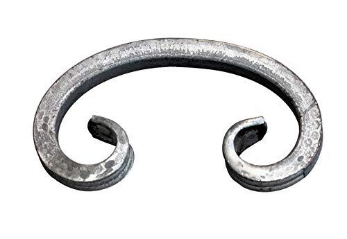 UHRIG ® C Schnörkel Bogen Schnecke schmiedeeisen aus Vierkantstahl 12x12mm geschmiedet Eisen-Kunst Zierelement für Zaun Geländer (150x82mm)