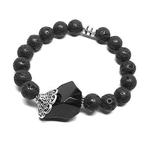 Lava Stone Aromatherapy Bracelet Black Onyx Pewter Pendant
