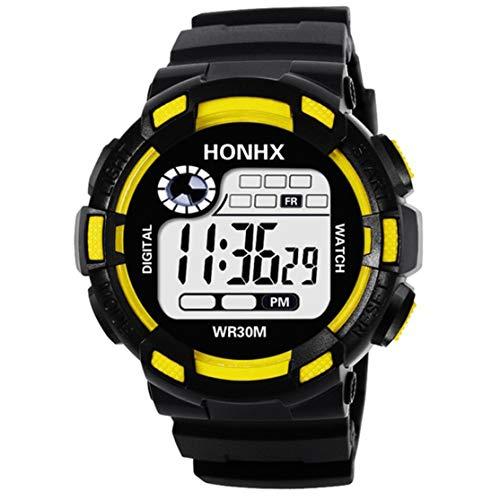 Candyboom para el Reloj Deportivo Digital Impermeable HONHX para Hombres con luz LED Reloj Inteligente Elegante Reloj Luminoso Informal con podómetro