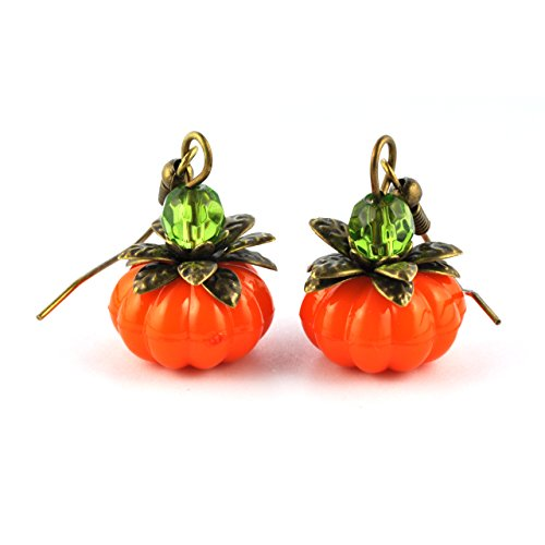 SCHMUCKZUCKER Damen Ohrhänger Süßer Kürbis Halloween Modeschmuck Ohrringe Bronze Orange Grün