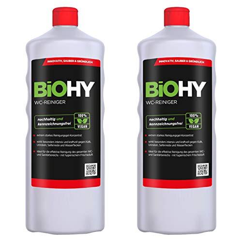 BiOHY WC-Reiniger (2x1l Flasche) | EXTRA STARK | Profi bio Konzentrat | Dickflüssiges Reinigungs-Gel | Ideal gegen Urinstein
