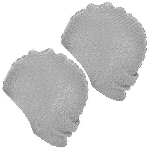 Berretto da bagno in silicone super elastico di alta qualità da 2 pezzi Cappelli da nuoto per donna Confortevole Cappellino da nuoto per capelli lunghi Attrezzatura da nuoto professionale(Argento)