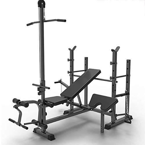 Multifunktionale Gewichtheberbank, verstellbare Bank 880LBS Max Load Press Set mit Langhantelhalter für Heimübungen Bauchmuskeln Muskeln Rückenmuskel Brust (schwarz)