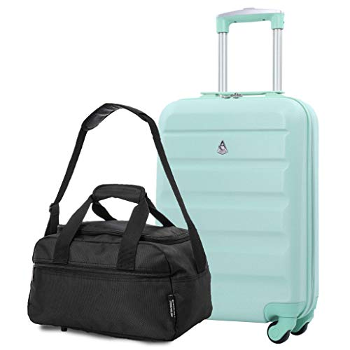 Aerolite 55x35x20cm Lightweight ABS Hard Shell Travel Carry On Cabin Hand Luggage Suitcase + 40x20x25 Ryanair Maximum Sized Holdall Cabin Bag (Peppermint + Black)