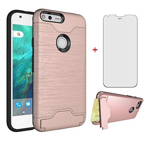 Phone Case for Google Pixel 1 with Tempered Glass Screen Protector Cover Cell Accessories Credit Card Holder Slim Hard Wallet Hybrid Stand Kickstand Pixel1 Pixle One 5 inch 2016 Women Girls Rose Gold