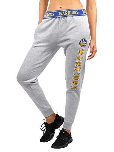 Ultra Game NBA Golden State Warriors Womens Jogger Pants Active Basic Fleece Sweatpants , Heather Gray, Medium