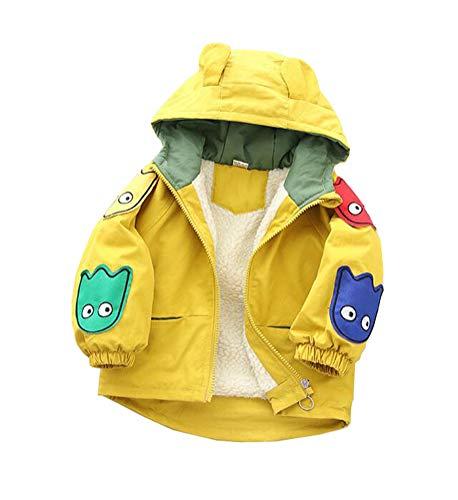Nemopter Kindermantel, Jungen, Baby, Kapuzenjacke für Kapuzen-Sweatshirt, Dinosaurier, Cartoon-Daunenjacke aus Samt, für Jungen Gr. 6-12 Monate, gelb