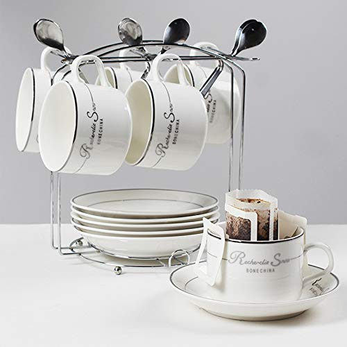 Tea Cup Set Ceramic Coffee Cup Set Porcelain Cup Saucer Set With Display Stand Cup Holder And Spoon For Tea Coffee Afternoon Tea Party (Color : Silver)