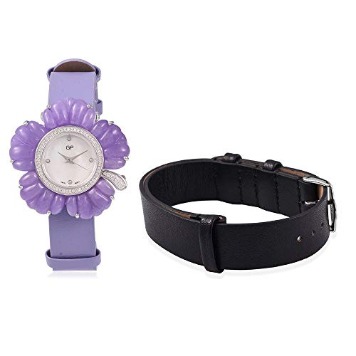 GP Swiss Movement Water Resistant Carved Purple Jade, Simulated Diamond Watch with Extra Black Strap