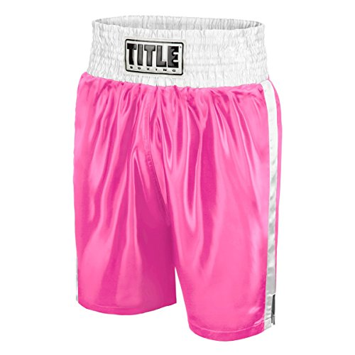 Title Edge Boxing Trunks, Pink/White, Medium