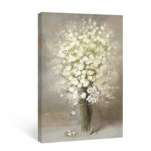 SUMGAR Cuadro de pared con flores marrón y blanco, impresión floral abstracta beige Gypsophila con margaritas obras de arte rústicas decoración para el cuarto de baño o dormitorio 30 x 40 cm
