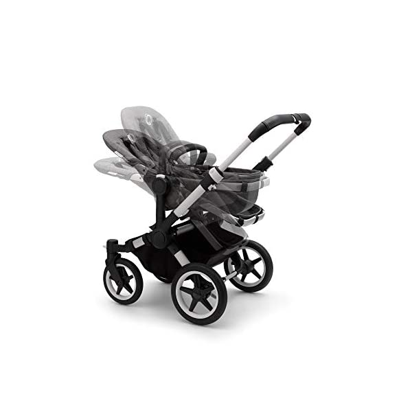 Bugaboo Donkey 3 Twin Extention Set Complete - converts Single into Twin Side by Side pram and Pushchair, Foldable Lightweight Stroller with Grey mélange Sun Canopy and Aluminium Chassis Bugaboo Grows with your family: With two children to think about, the Mono single pushchair converts to a Twin pram or Duo carrycot and pushchair with separately available extension sets Smaller than you think: Expands to just 74 cm wide in Duo or Twin mode fitting standard doorways, folds to carry, extra storage space and durable materials, the only pushchair your family will need Lightens your ride: Easy to manoeuvre with 1 hand steering, large tires ensure a safe, smooth ride on all terrain even if fully loaded, it can hold up to 22 kg making it suitable from birth to toddler 5