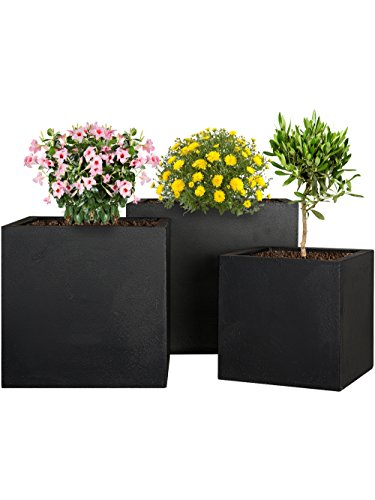 Pflanzwerk® Pflanzkübel Fiberglas Cube Anthrazit 3er-Set 23cm + 28cm + 34cm *Frostbeständig* *UV-Schutz* *Qualitätsware*