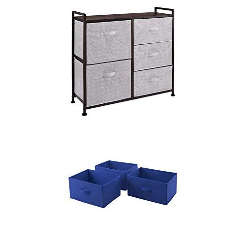 Amazon Basics Unidad de Almacenamiento, de Tela, con 5 cajones, para Armario, Color Bronce + Cajones de Repuesto para Unidad de Almacenamiento de Tela con 5 cajones, Azul Real