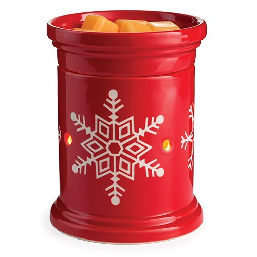 CANDLE WARMERS ETC. Holiday Illumination Fragrance Warmer- Light-Up Warmer for Warming Scented Candle Wax Melts and Tarts or Essential Oils to Freshen Room, Snowflake