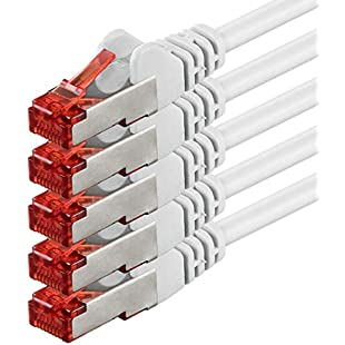 1aTTack CAT6 PIMF SSTP Network Patch Cable with 2 x RJ45 Connector Set Double Shielded Pack of 5 weiß - 5 Stück 5,0 Meter