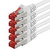 2m - Blanco - 5 Piezas - CAT6 Ethernet LAN Cable de Red Set 1000 Mbit/s Patchkabel CAT6 S-FTP Doble blindado PIMF 250MHz halógenos Compatible con CAT5 CAT6a CAT7 CAT8, Patch Panels