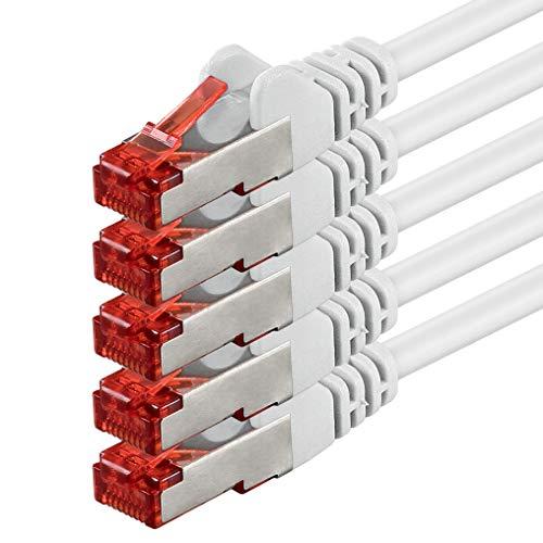 Netzwerkkabel Cat 6 (2m - weiß - 5 Stück) Ethernetkabel Cat Kabel Lankabel Cat6 (SFTP PIMF) doppelt geschirmt Patchkabel Set 1000 Mbit/s Internet DSL Anschluss Router Computer