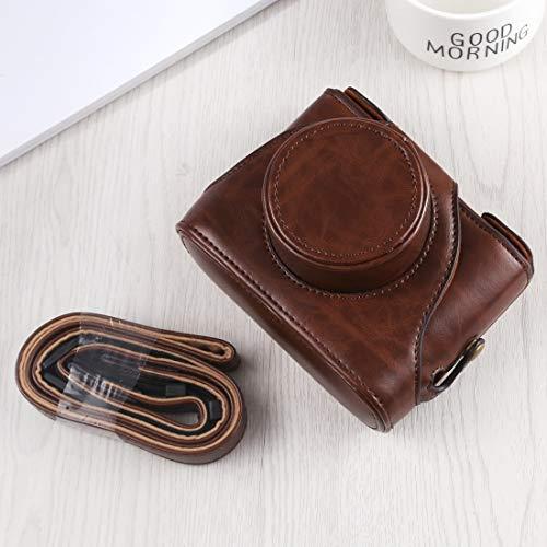DAX PU-Leder Kameratasche Schutzganzkörper-Kamera PU-Leder Tasche mit Trageriemen for Fuji X10 / X20 (Schwarz) (Color : Coffee)