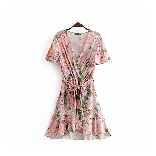 Vestidos de mujer Mujeres Hippie Pink Floral Estampado Profundo Cuello En V...