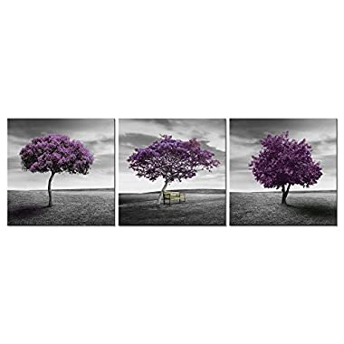 Pyradecor 3 Piece Purple Trees Modern Stretched and Framed Landscape Artwork Giclee Canvas Prints Fall Forest Pictures Paintings on Canvas Wall art for Living Room Bedroom Home Office Decorations