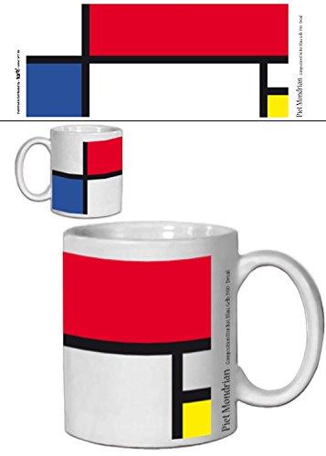 1art1 Piet Mondrian, Composition II en Rouge, Bleu, Jaune, 1930 Tasse À Café Mug (9x8 cm) + 1x Sticker Surprise