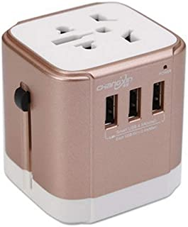XIMINGJIA-O Power Plug Adapter - International Travel - 3 USB Ports in Over 150 Countries - 110-220 Volt Adapter - (1 Pack) Champagne Gold International Converter, (Color : Champagne Gold)