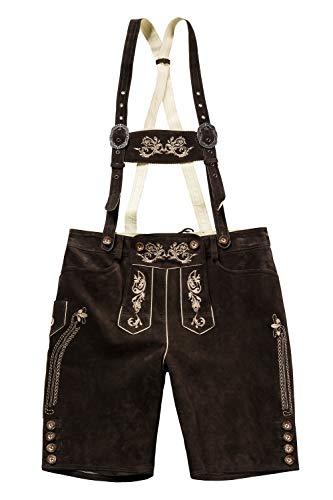 JP 1880 Herren große Größen bis 70, Lederhose, knielange Trachtenhose mit Trägern, Hirschknopf-Optik, abnehmbares Geschirr braun 64 705528 30-64