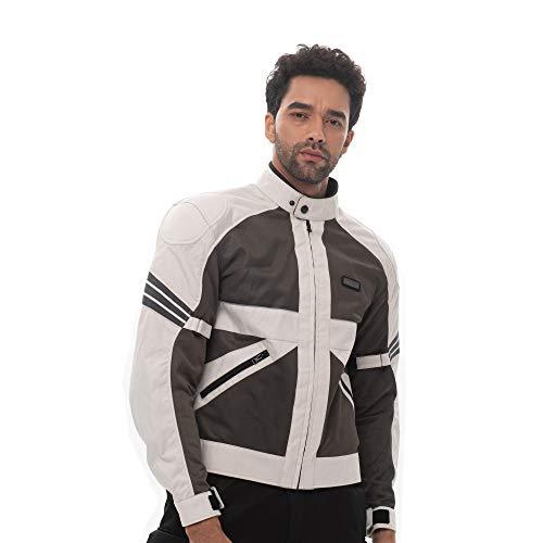 Nerve Shop Lichtgewicht dun mesh motorjack -Ronde Roller motorjack heren kort beschermjack mannen textiel zomerjas luchtdoorlatend X-Large grijs-wit