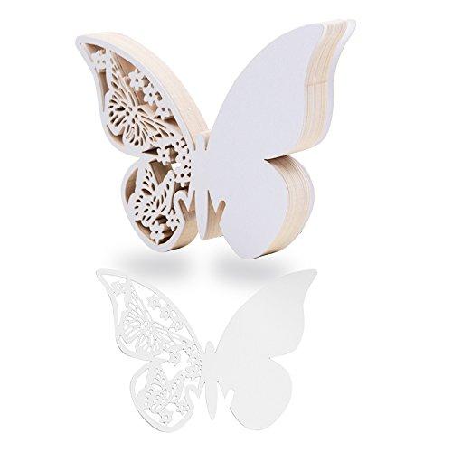 QUMAO 100 Piezas Tarjetas Etiquetas Decorativas Mariposa Invitacion Agradecimiento Regalo Copa Detalle Nombre Mesa Boda Cumpleaño Comunión Bautizo Fiesta (Blanco)