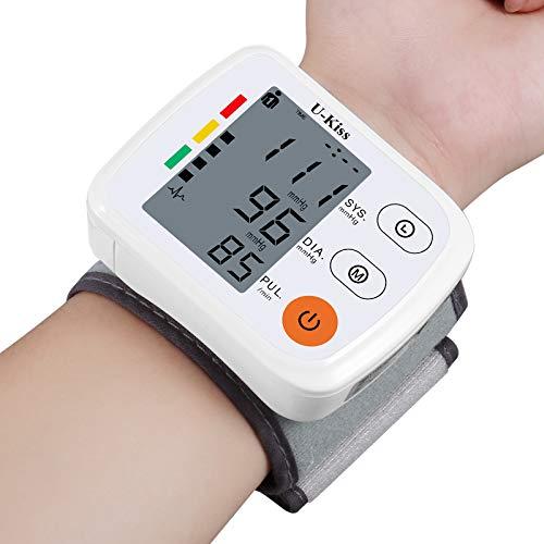 U-KISS Handgelenk-Blutdruckmessgerät, genaues automatisches digitales Handgelenk-Blutdruckmessgerät mit tragbarer Tragetasche und Batterien, großes LCD-Display Dual-User-Modus für den Heimgebrauch