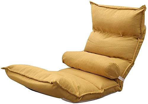 poltrone GSN Silla Baja Ocio sillón Cama Desmontable y Lavable Lazy Sofá Sillón con Respaldo ergonómico Diseño Silla Baja de la Ventana de bahía Dormitorio (Color : Yellow)